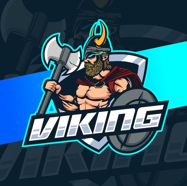 Viking mascot esport logo design Vettore Premium