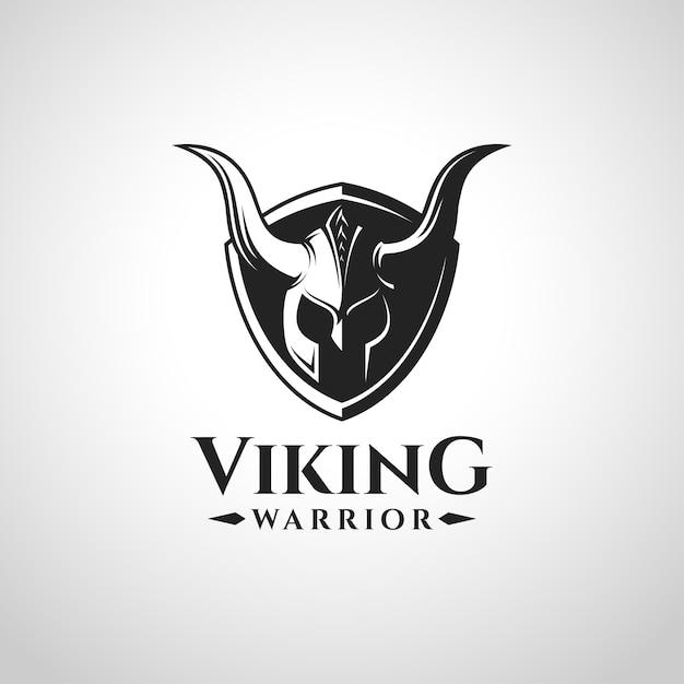 Viking warrior logo e simbolo Vettore Premium