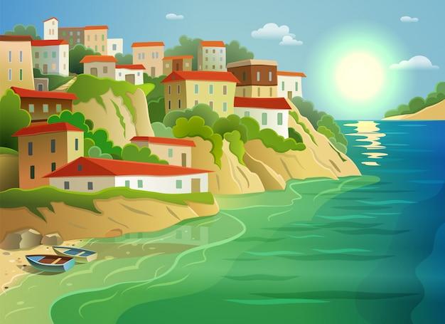Villaggio di mare costiero che vivono poster colorati Vettore gratuito