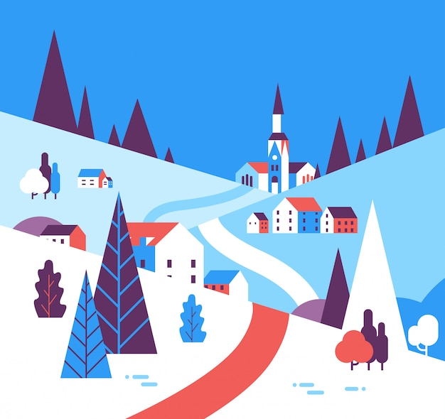 Villaggio invernale case montagne colline paesaggio Vettore Premium