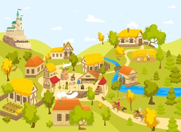 Villaggio medievale con il castello, le case a graticcio e la gente sul quadrato del mercato, illustrazione Vettore Premium