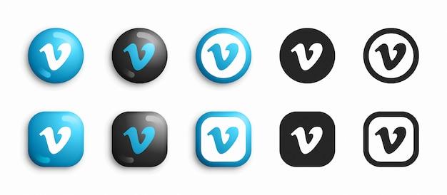 Vimeo 3d moderno e set di icone piatte Vettore Premium