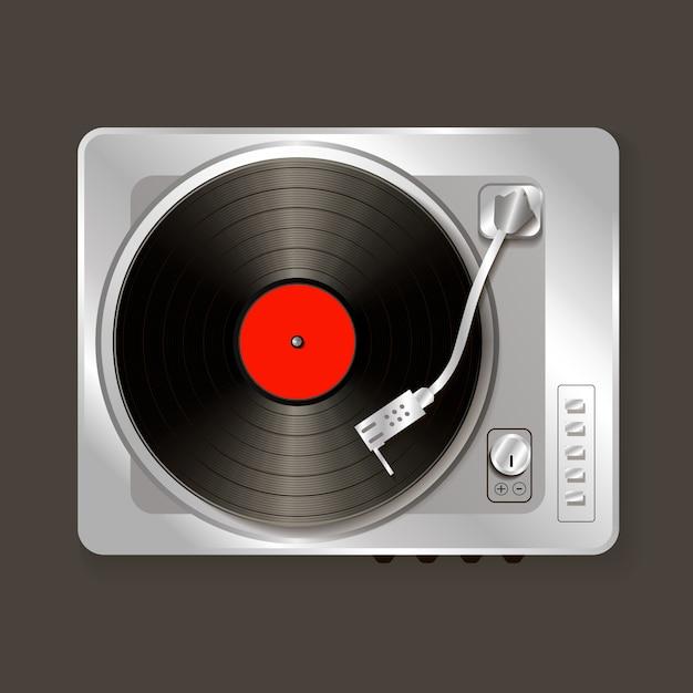 Vinile realistico del grammofono di musica di vettore Vettore Premium