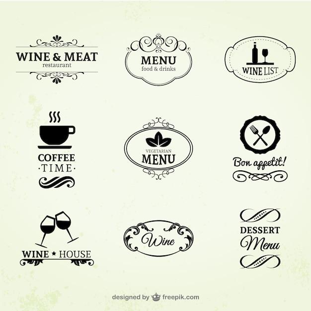 Vino d'annata, ristoranti e caffè etichette Vettore gratuito