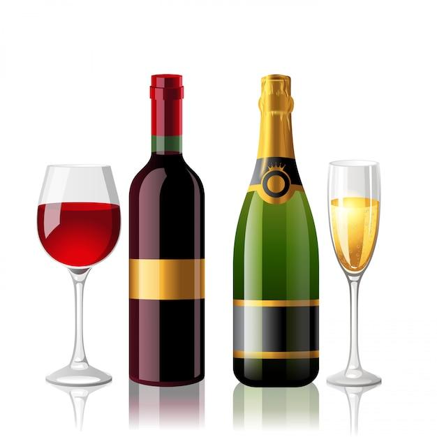 Vino e champagne Vettore Premium