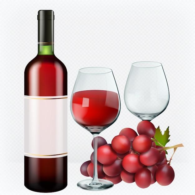 Vino rosso. bicchieri, bottiglia, uva. Vettore Premium