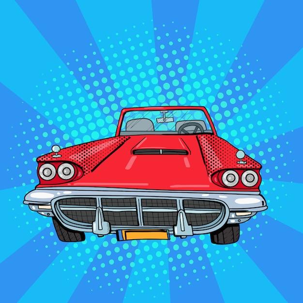 Vintage american car pop art Vettore Premium