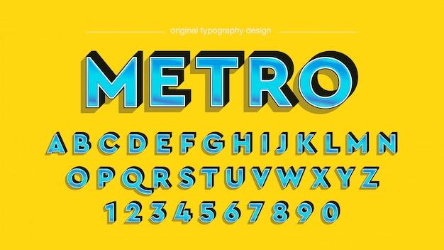 Vintage bold bevel blue typography design Vettore Premium