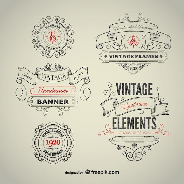 Vintage elementi disegnati a mano Vettore gratuito