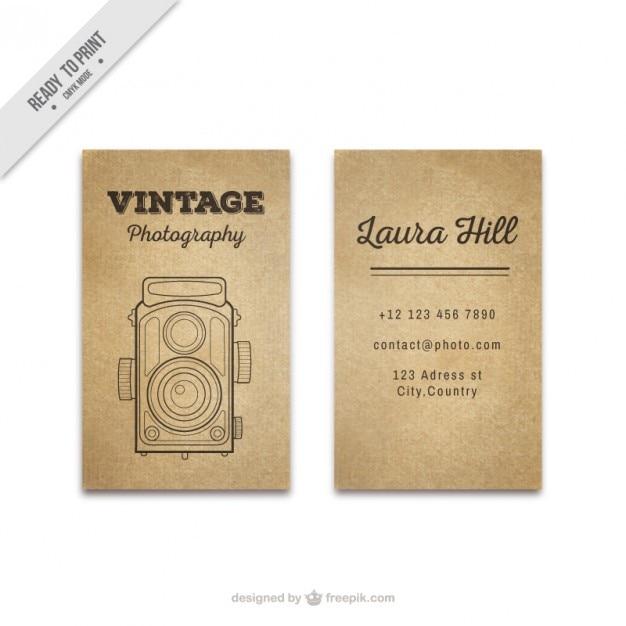Vintage foto tessera con disegnata a mano la macchina fotografica antica Vettore gratuito