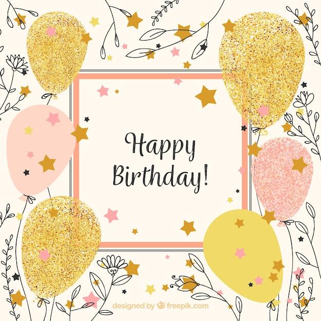 Vintage happy birthday background con palloncini e schizzi di fiore Vettore gratuito