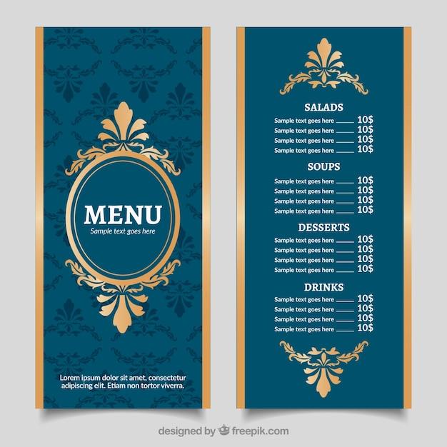 Vintage menu menu dorato con stile barocco Vettore gratuito