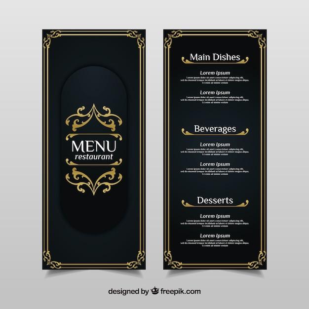 Vintage menu template con ornamenti dorati Vettore gratuito
