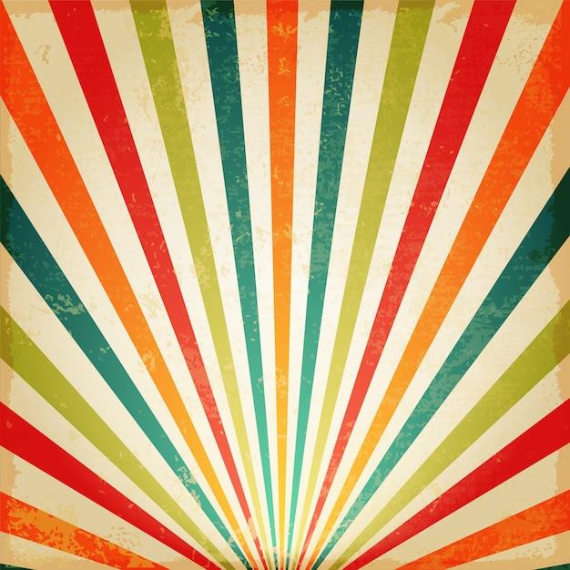 Vintage multicolore sole nascente o raggio di sole, sole scoppiare design retrò sfondo Vettore Premium