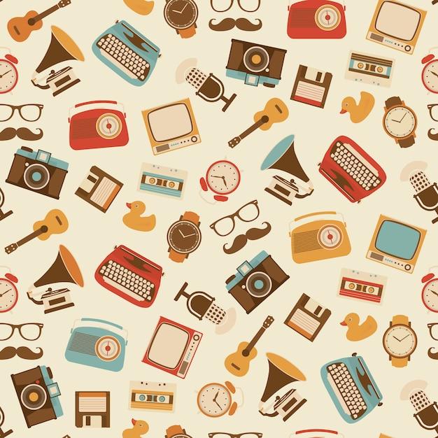 Vintage oggetti design pattern Vettore gratuito