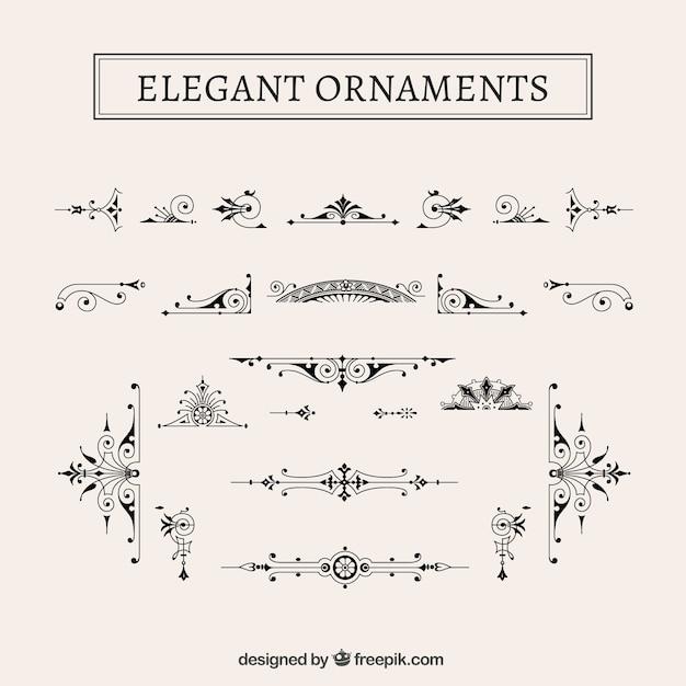 Vintage ornamenti eleganti pacco Vettore gratuito