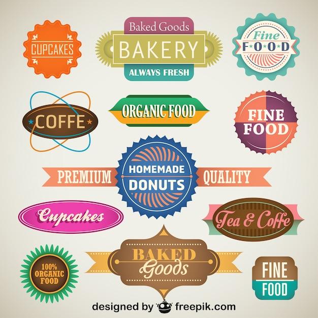 Vintage set di etichette dei prodotti alimentari e distintivi Vettore gratuito