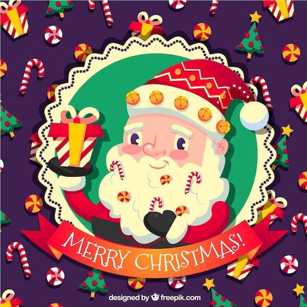 Ben noto Vintage sfondo di Babbo Natale adorabile con caramelle   Scaricare  PU97