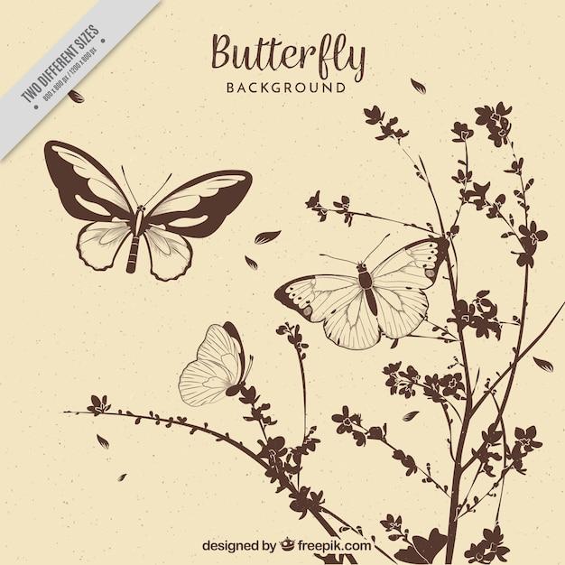 Vintage sfondo di fiori e farfalle disegnati a mano Vettore gratuito