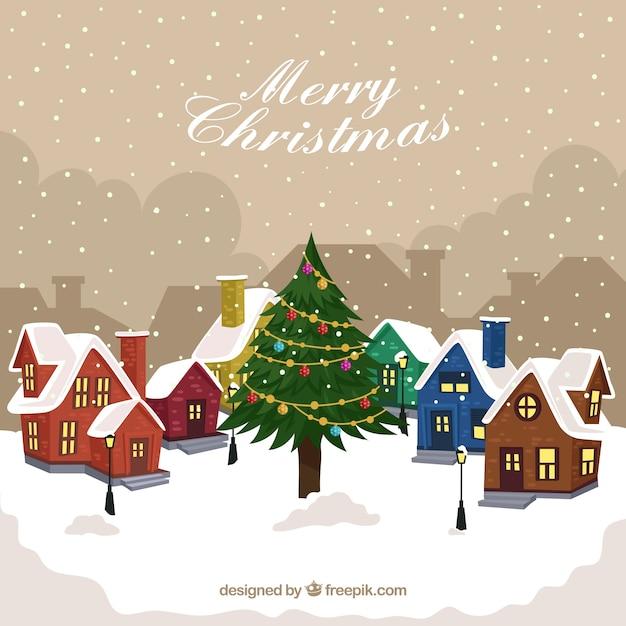Immagini Natale Vintage Gratis.Vintage Sfondo Di Villaggio Nevoso Con Albero Di Natale