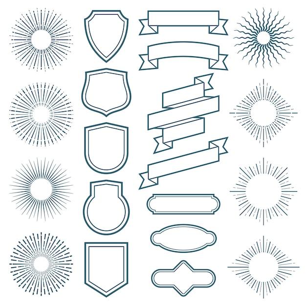 Vintage sunburst frame, ribbon and labels vector elementi in stile art déco Vettore Premium