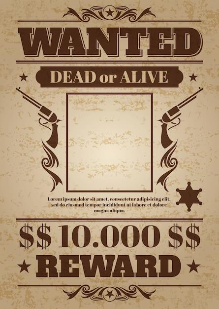 Vintage voluto poster occidentale con spazio vuoto per la foto criminale. Modello vettoriale Vettore Premium