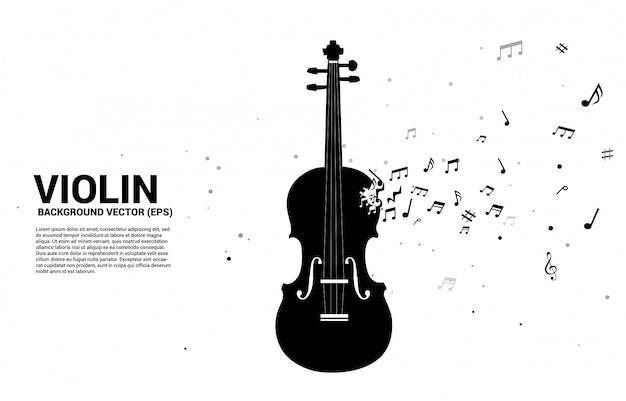 Violino di vettore con flusso di danza nota melodia di musica. modello di testo Vettore Premium