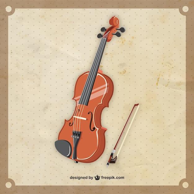 Violino retrò in stile realistico Vettore gratuito