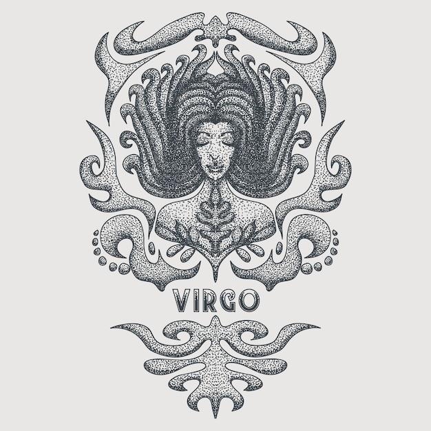 Virgo zodiac vintage Vettore Premium