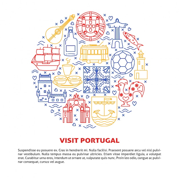 Visita il portogallo intorno alla composizione di elementi Vettore Premium