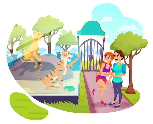 Visitatori che camminano in animal park, fine settimana, estate Vettore Premium