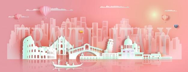 Visiti l'architettura famosa europa dei punti di riferimento dell'italia in gondola Vettore Premium