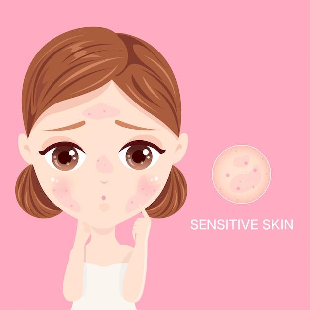 Viso della pelle sensibile Vettore Premium