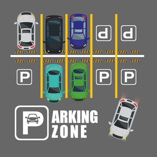 Vista aerea della zona di parcheggio Vettore Premium