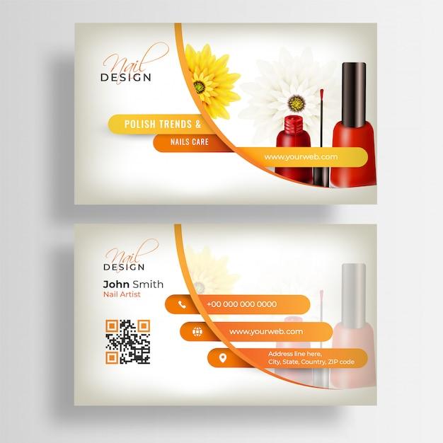 Vista anteriore e posteriore del biglietto da visita nail artist o modello di biglietto da visita Vettore Premium