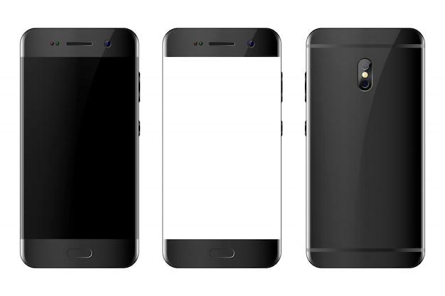 Vista anteriore e posteriore del telefono su bianco Vettore Premium