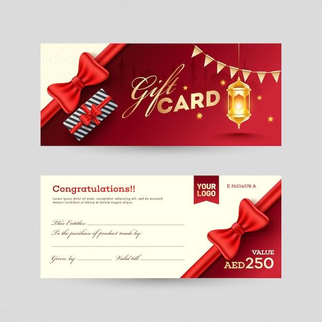 Vista anteriore e posteriore gift card design con scatola regalo e illumi Vettore Premium