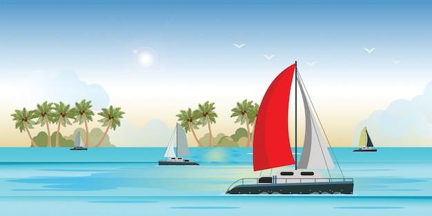 Vista blu del mare con l'yacht di lusso della nave di navigazione nell'insegna del mare Vettore Premium