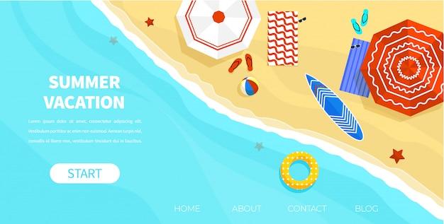 Vista dall'alto coast beach con occhiali da sole con palla a ombrello Vettore Premium