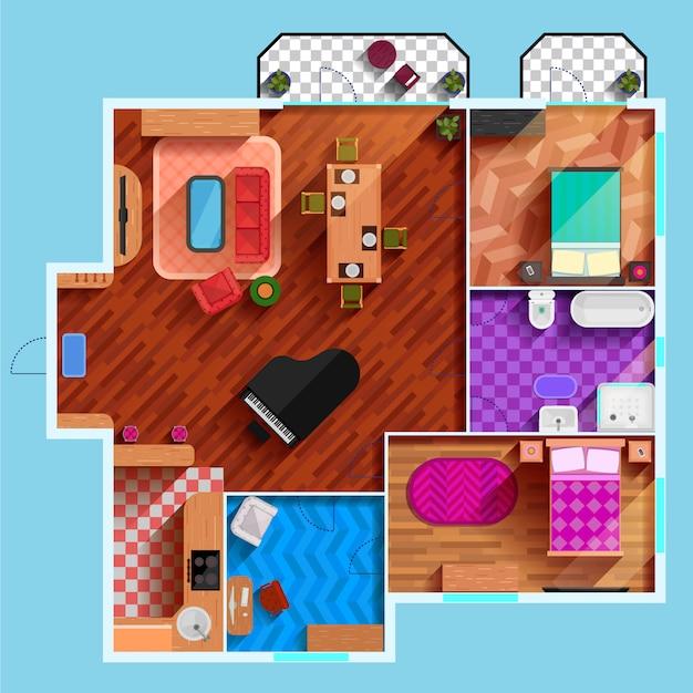 Vista dall'alto dell'interno di appartamento tipico Vettore gratuito