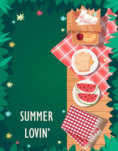 Vista dall'alto design estivo picnic Vettore Premium