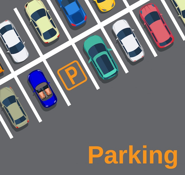 Vista dall'alto di un parcheggio cittadino Vettore Premium