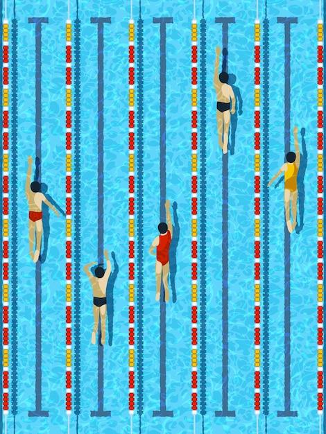 Vista dall'alto piscina con vettore di nuotatori atleta Vettore Premium
