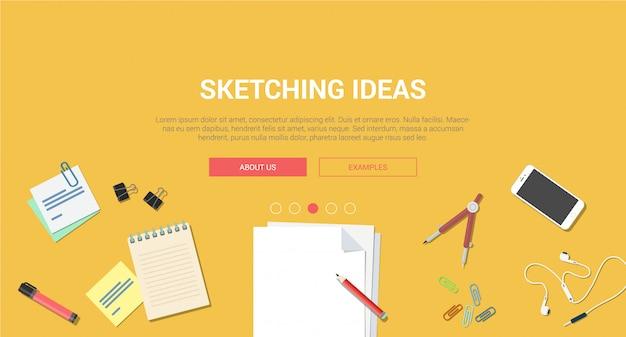 Vista dall'alto sul posto di lavoro con illustrazione vettoriale di cancelleria smartphone mobile notebook sketchbook design creativo processo piatto schizzi idea Vettore gratuito