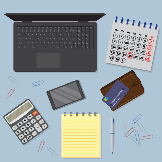 Vista del fondo della scrivania compreso il computer portatile, i dispositivi digitali, gli oggetti finanziari e commerciali. Vettore Premium