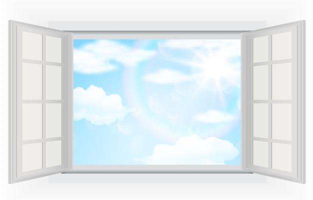 Vista del giorno luminoso dalla finestra Vettore Premium