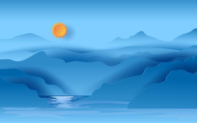 Vista del paesaggio del cielo blu di montagne Vettore Premium