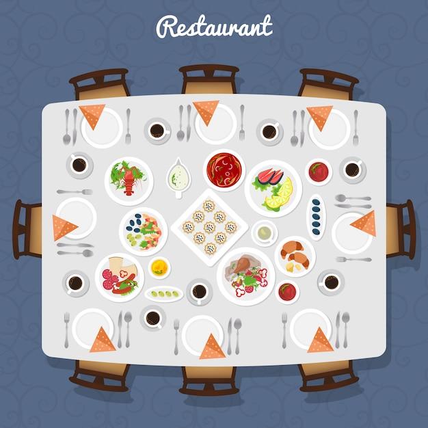 Vista del tavolo del ristorante Vettore gratuito