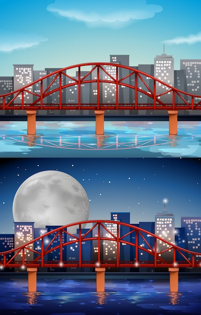 Vista della città con il ponte giorno e notte Vettore gratuito