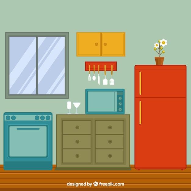 Vista della cucina piatto con frigorifero e forno | Scaricare ...